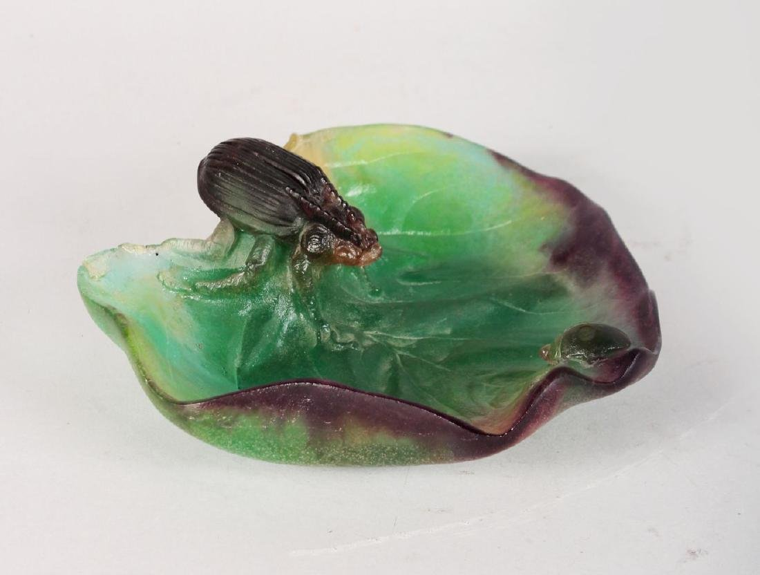 A DAUM PATE DE VERRE LEAF DISH WITH BEETLES AND