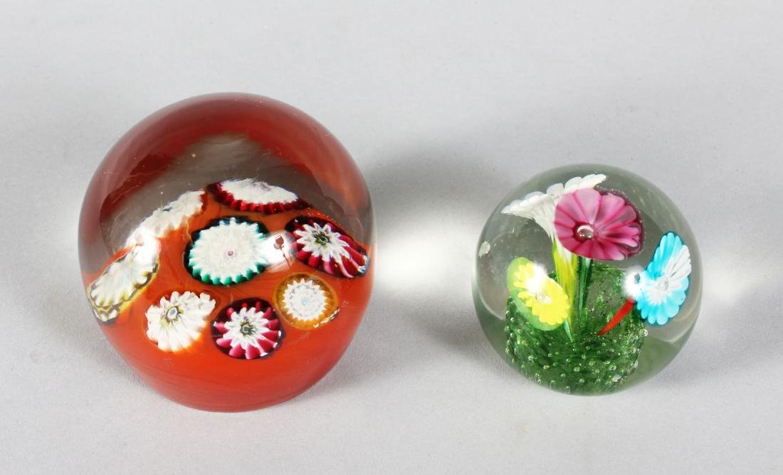 A LARGE MILLEFIORI PAPERWEIGHT and A FLOWER WEIGHT (2).