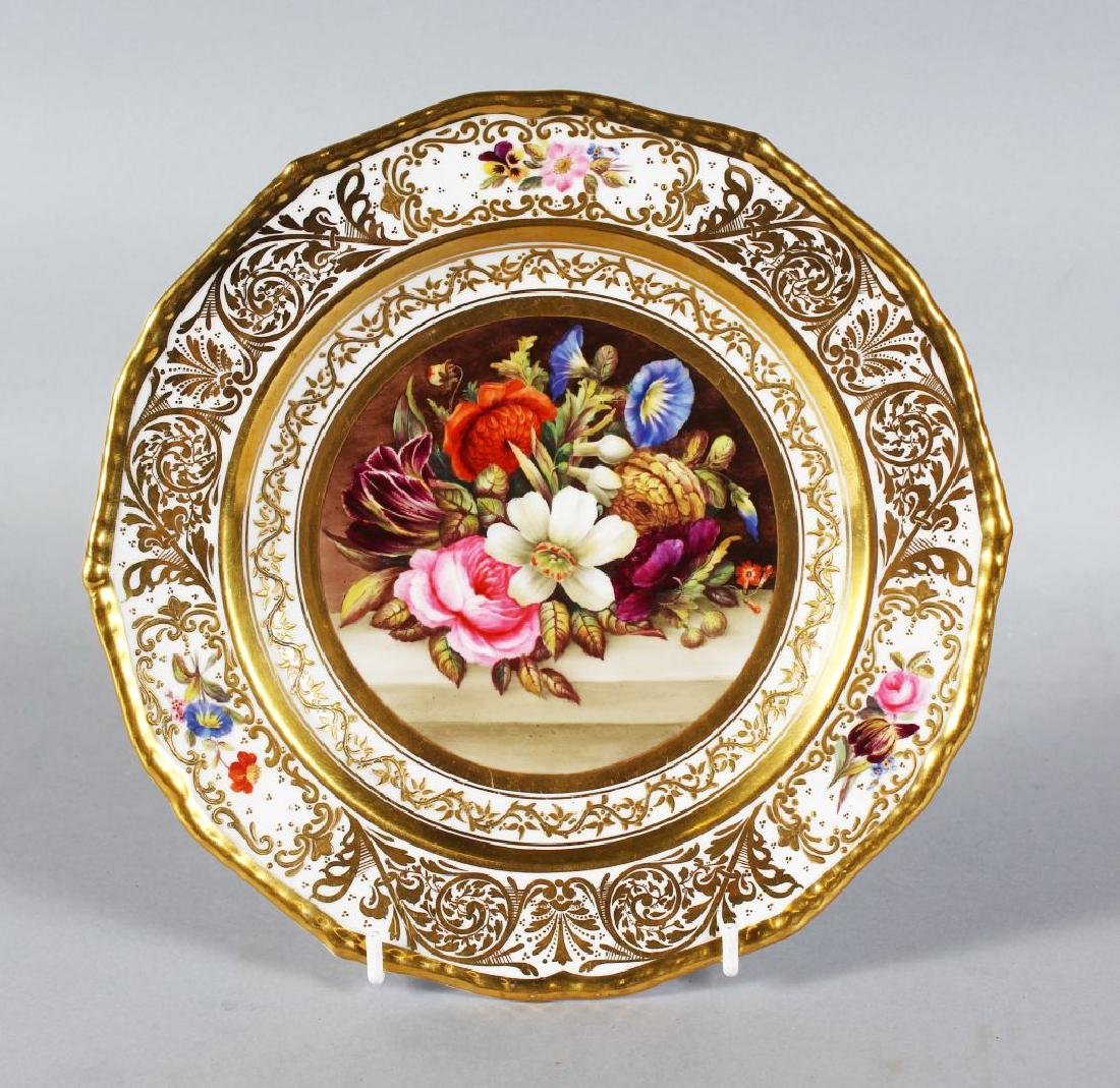A STEVENS & HANCOCK PORCELAIN PLATE, the border with