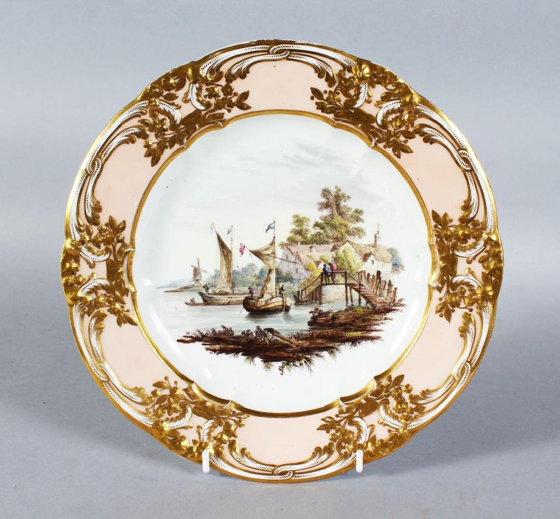 A DERBY PORCELAIN PLATE with cream and gilt border, the