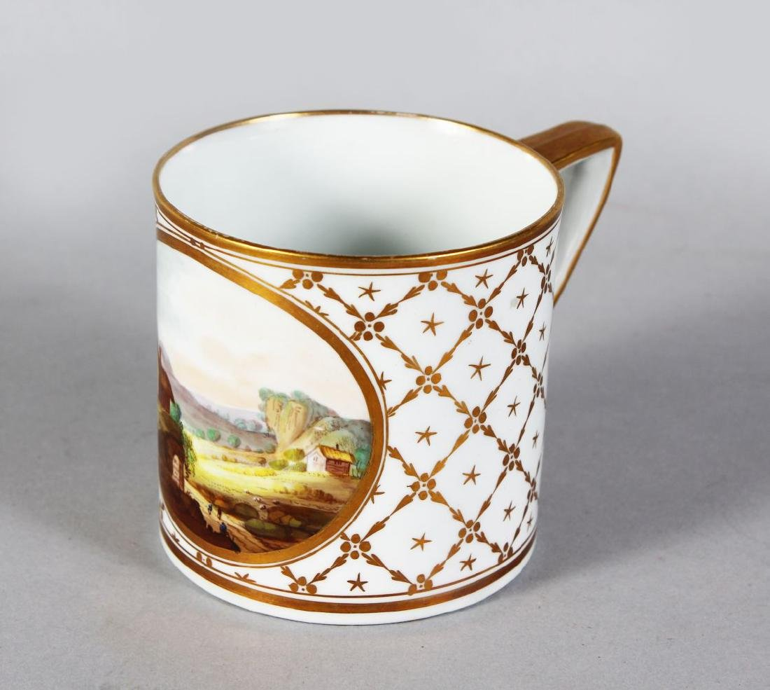 A DERBY PORCELAIN MUG with gilt decoration and painted