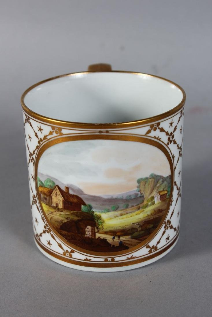 A DERBY PORCELAIN MUG with gilt decoration and painted - 2