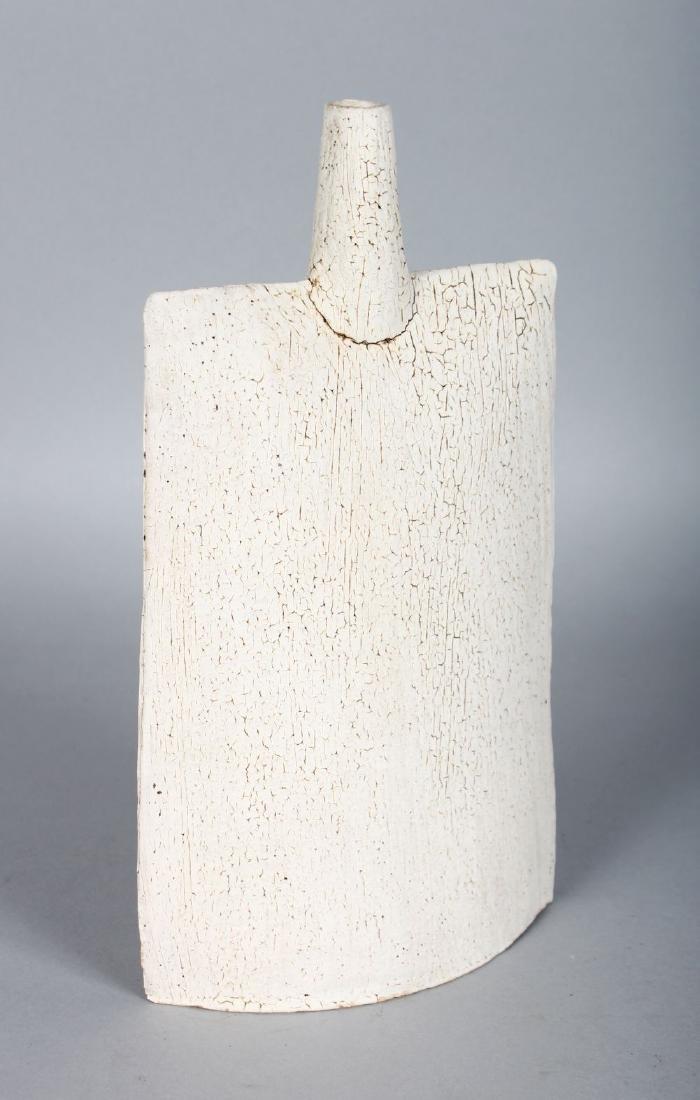 A STUDIO POTTERY VASE OF SLAB FORM, white crackle