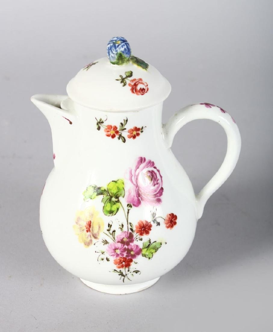 AN 18TH CENTURY VIENNA MILK JUG AND COVER painted with