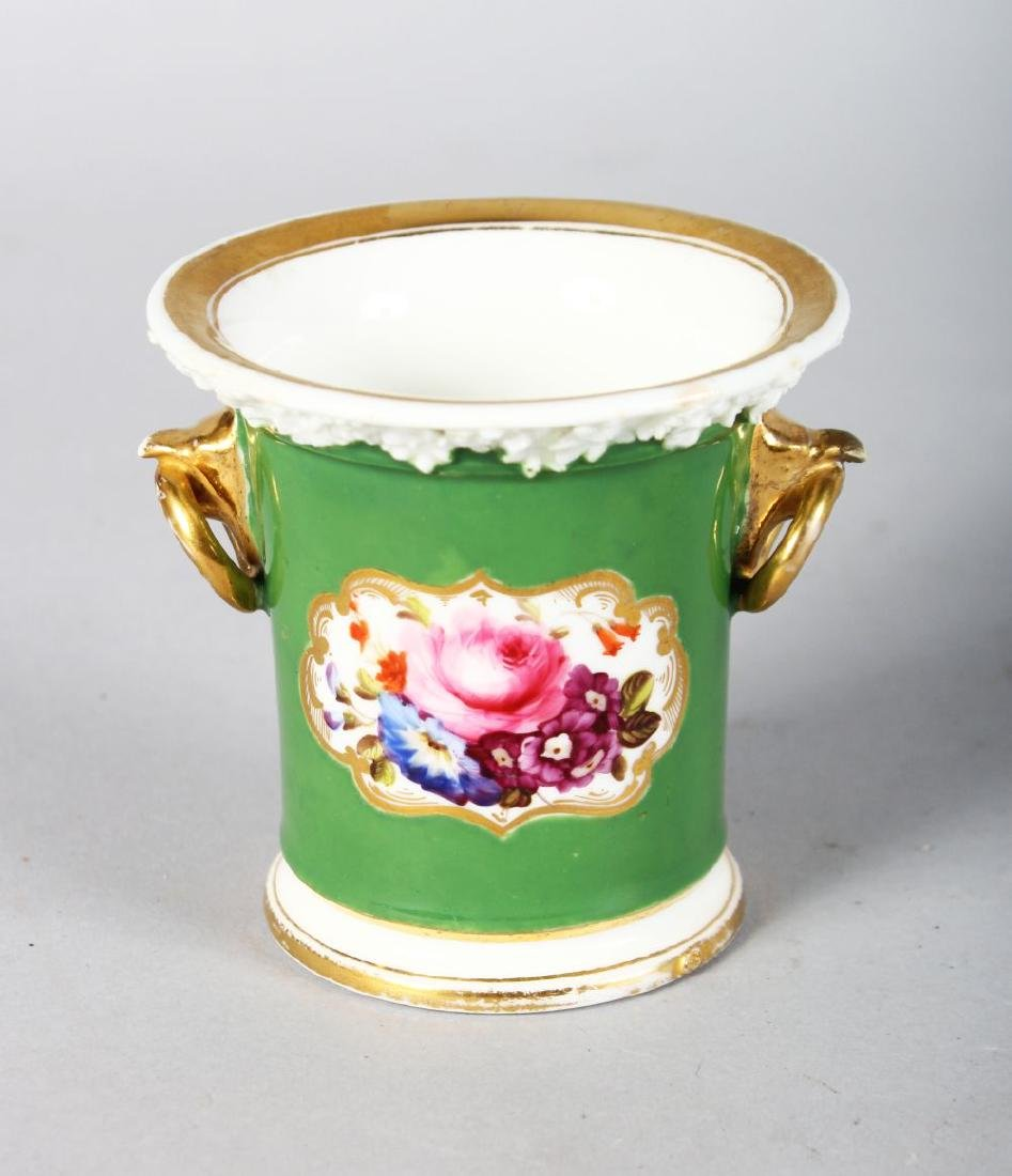 A 19TH CENTURY COALPORT PORCELAIN SPILL VASE with bird