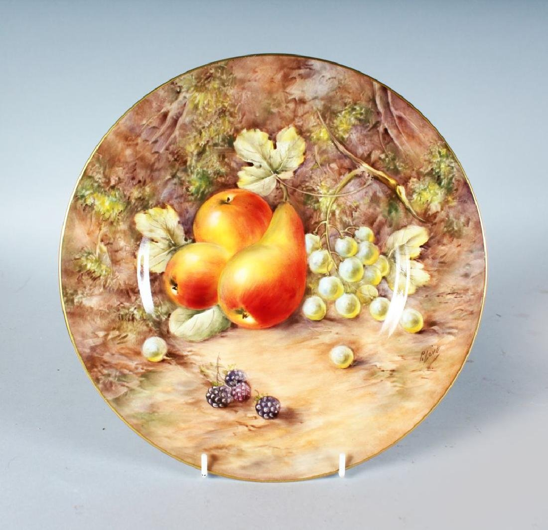A ROYAL WORCESTER PLATE painted with fruit by P. LOVE,