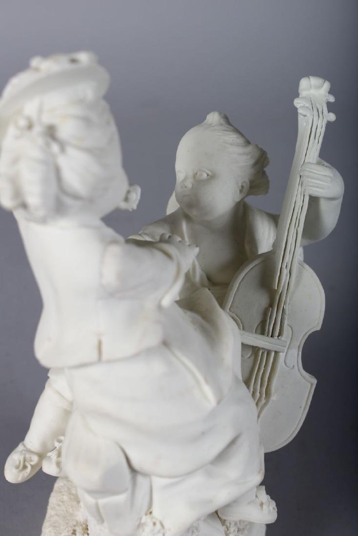 AN 18TH CENTURY MENNECY BISCUIT PORCELAIN FIGURE GROUP - 3