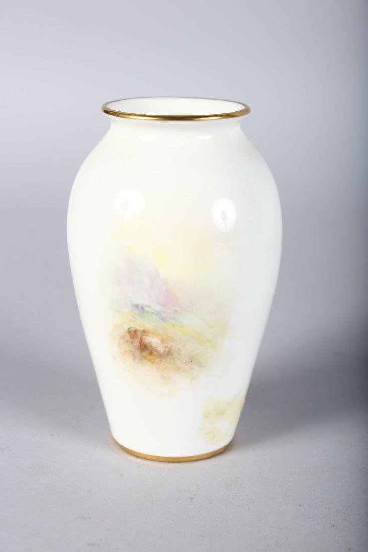 A ROYAL WORCESTER VASE, shape G461 painted with - 2