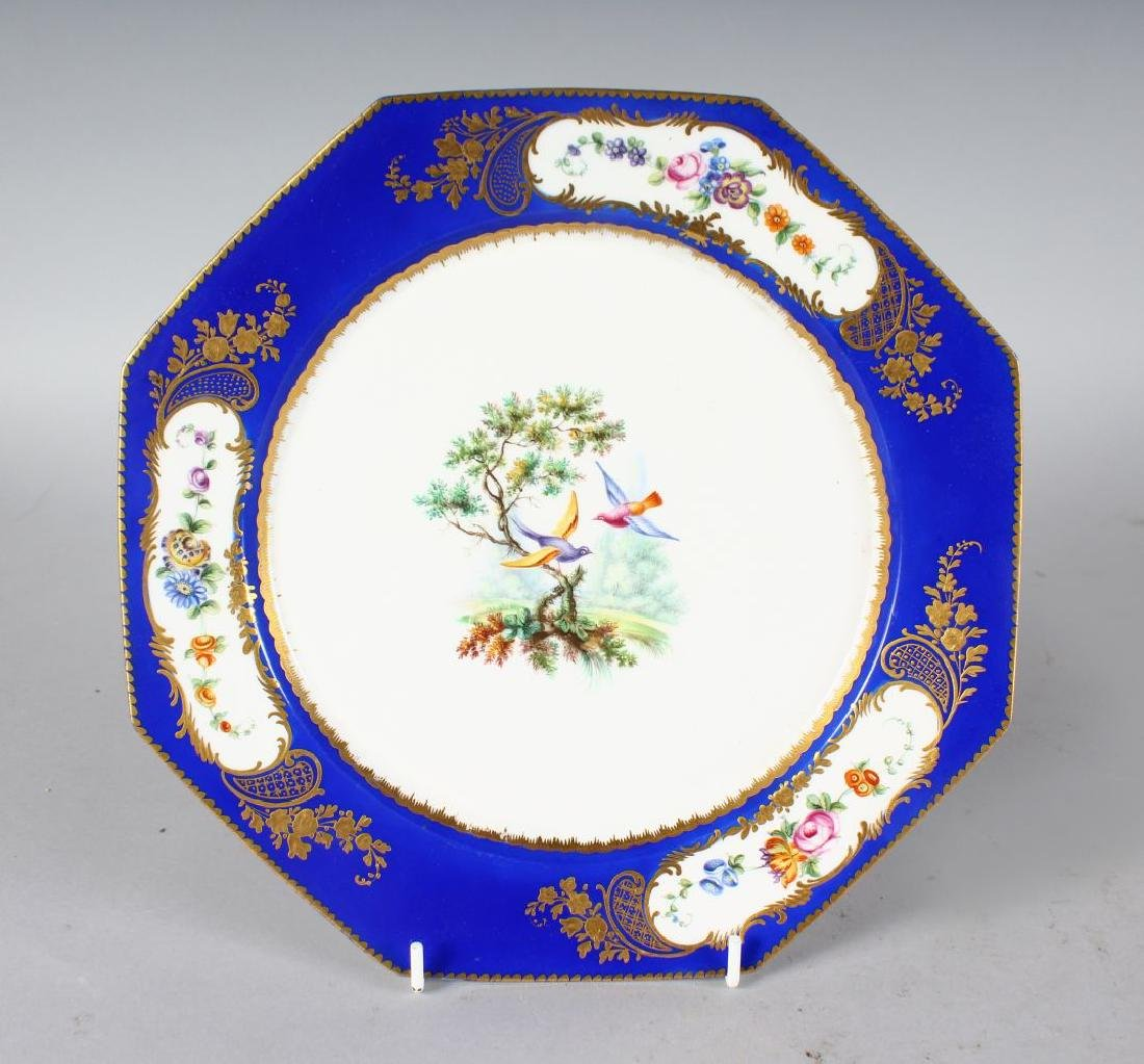 AN 18TH CENTURY SEVRES PLATE painted with birds,