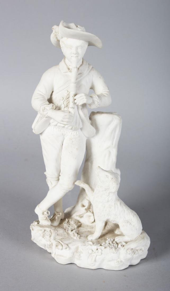 A 19TH CENTURY ROCKINGHAM FIGURE OF A BOY playing a