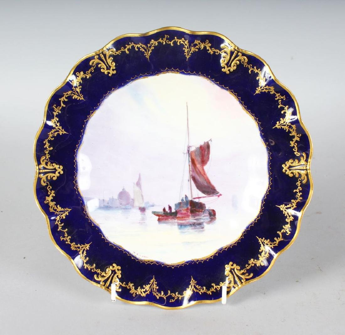 A ROYAL CROWN DERBY FINE PLATE painted with a fine