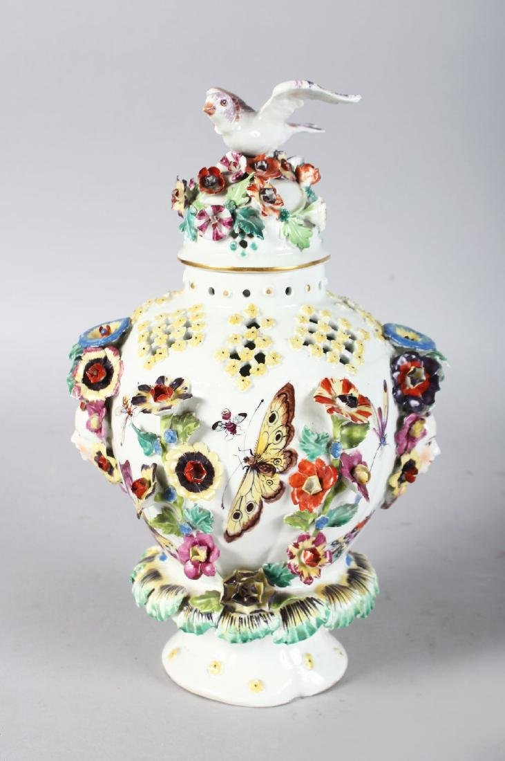 AN 18TH CENTURY DERBY VASE AND COVER encrusted and