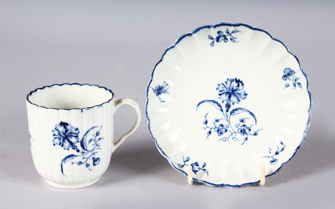 AN 18TH CENTURY WORCESTER COFFEE CUP AND SAUCER printed