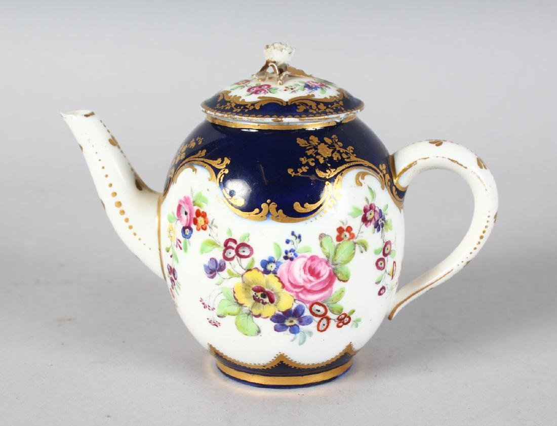 A SEVRES MORNING TEAPOT AND COVER painted with flowers