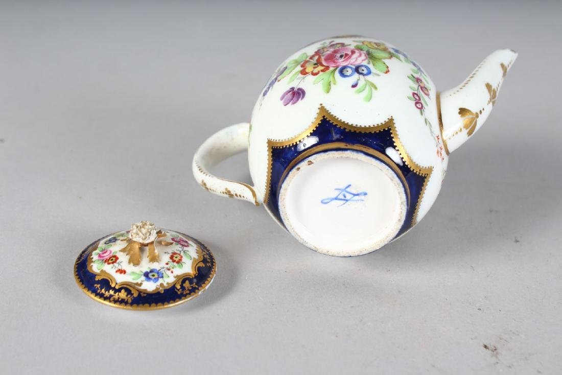 A SEVRES MORNING TEAPOT AND COVER painted with flowers - 2