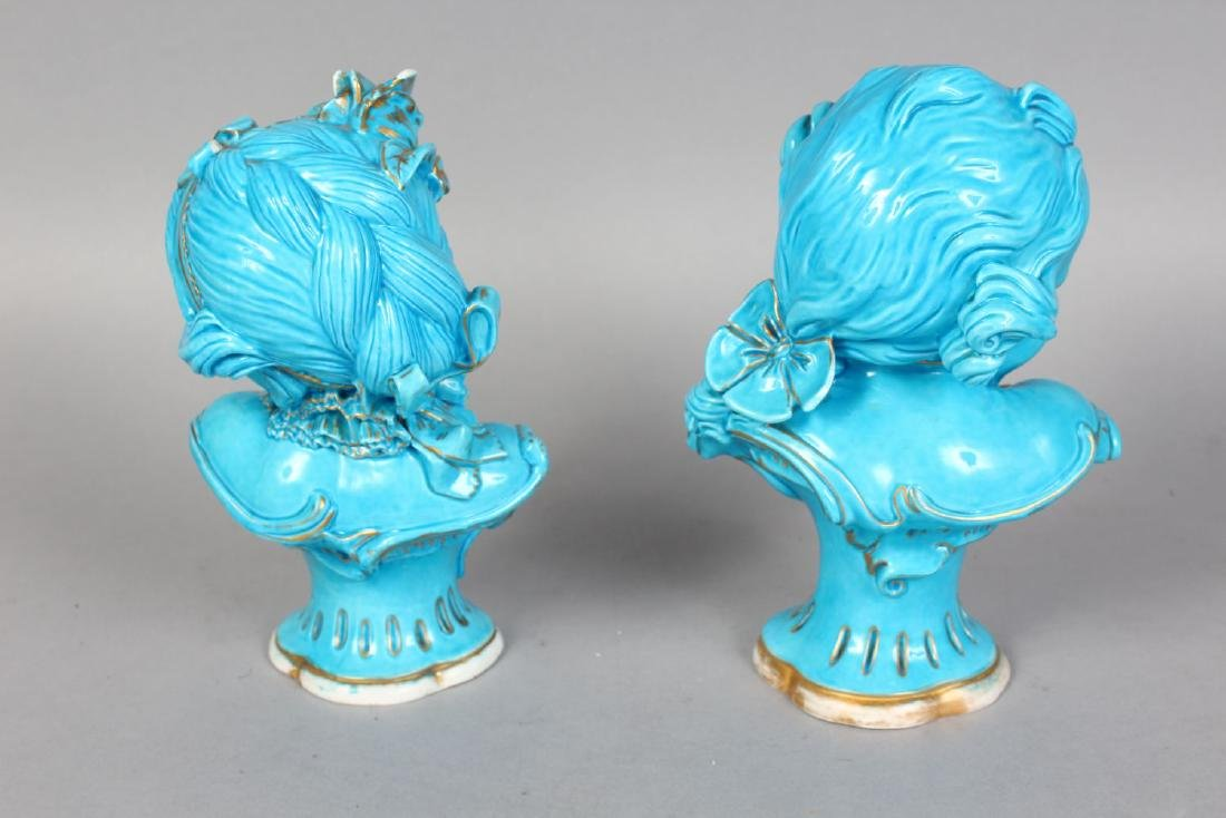 TWO GOOD NEAR MATCHING SEVRES BLUE BUSTS OF YOUNG BOYS, - 2