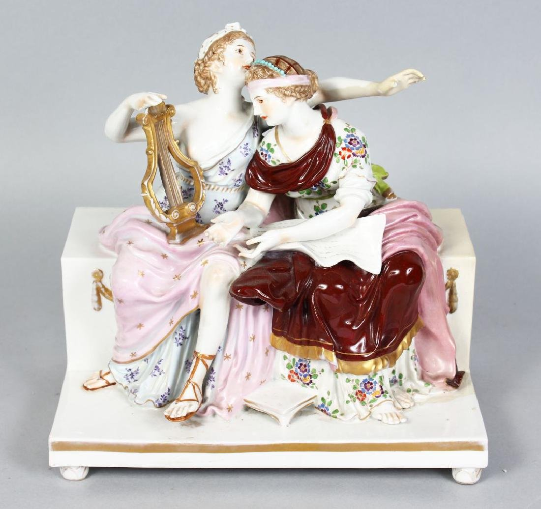 A LARGE CONTINENTAL PORCELAIN GROUP OF A CLASSIC WOMAN