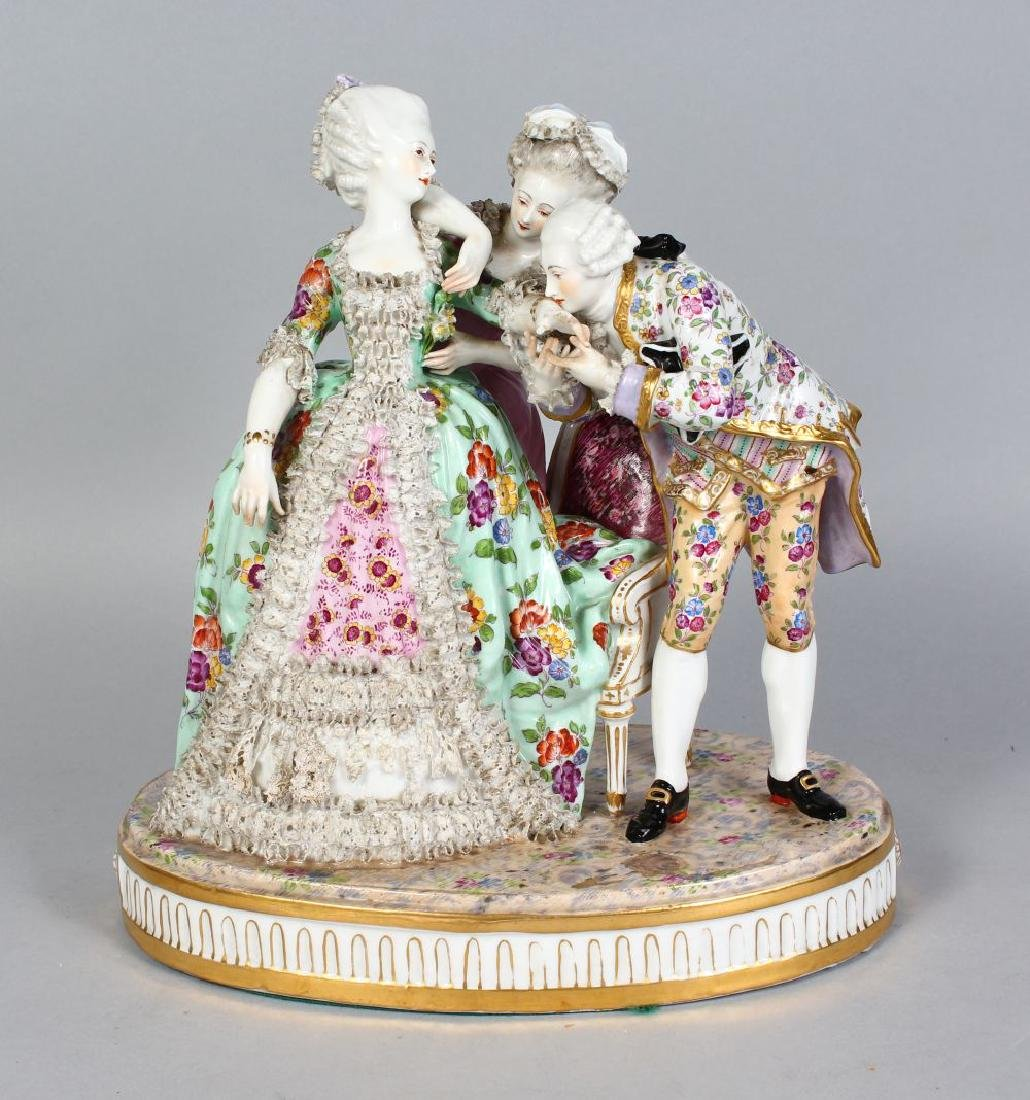 A LARGE DRESDEN PORCELAIN GROUP OF TWO YOUNG LADIES,
