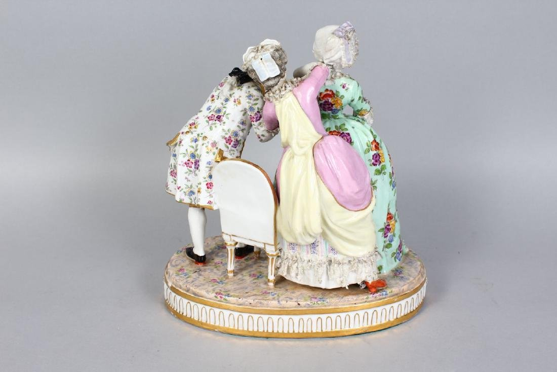A LARGE DRESDEN PORCELAIN GROUP OF TWO YOUNG LADIES, - 2