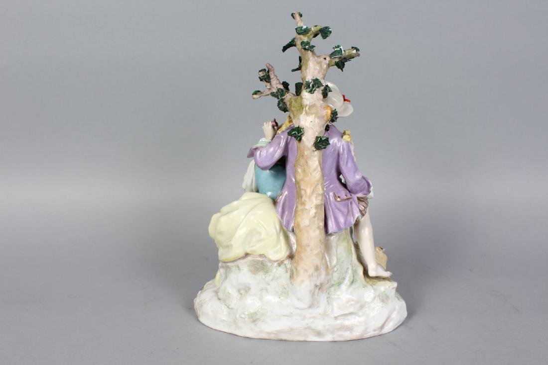 A GOOD MEISSEN GROUP OF A YOUNG MAN AND WOMAN, a lamb - 2