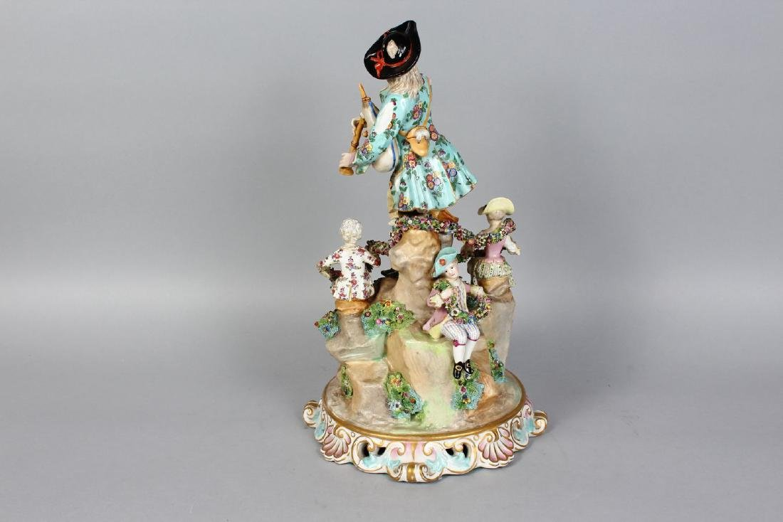 A LARGE MEISSEN STYLE MODEL OF A GROUP OF A MUSICIAN - 2