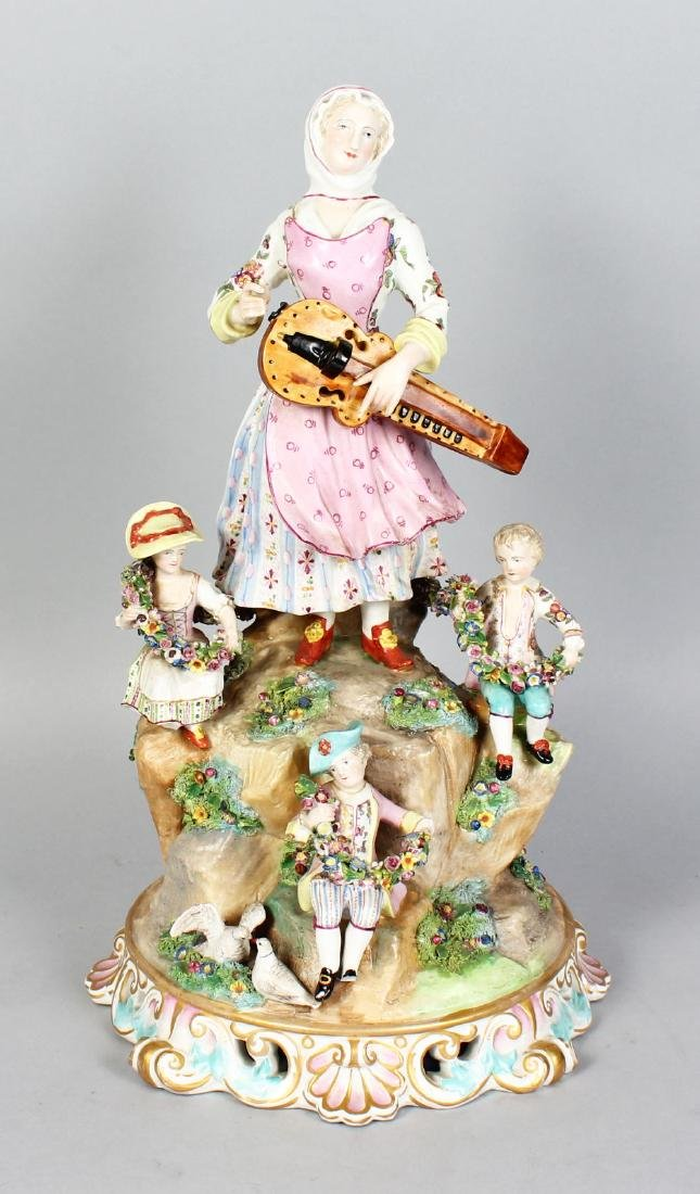 """A LARGE """"MEISSEN"""" MODEL OF A WOMAN playing a musical"""