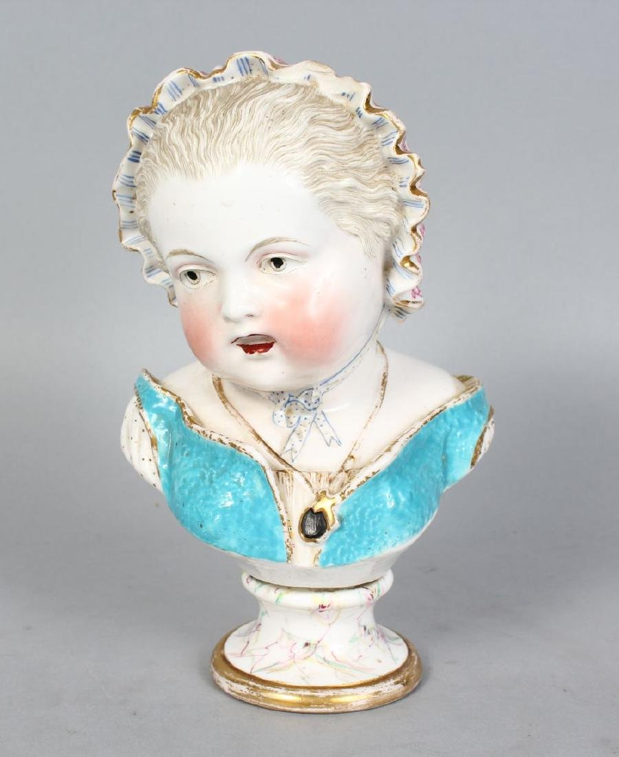A GOOD MEISSEN TYPE BUST OF A YOUNG GIRL.  8ins high.