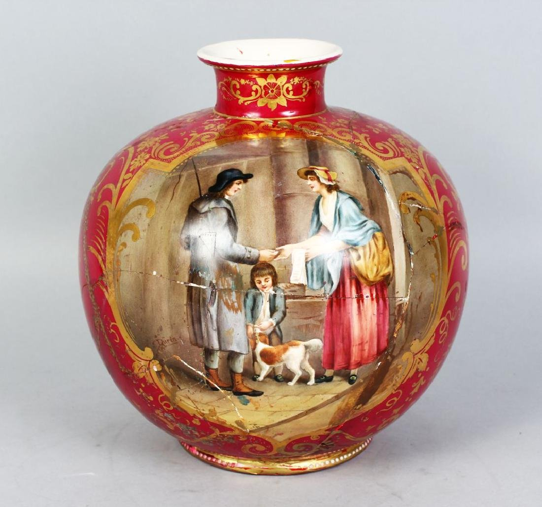 A ROYAL BONN POTTERY VASE painted with The Cries of