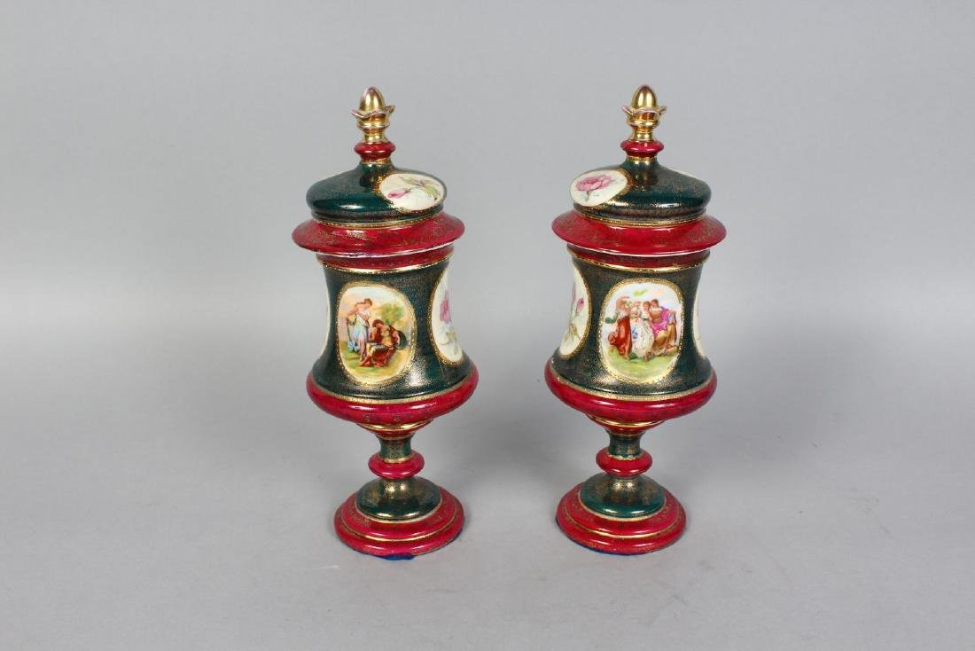 A PAIR OF VIENNA PORCELAIN VASES AND COVERS with panels - 2
