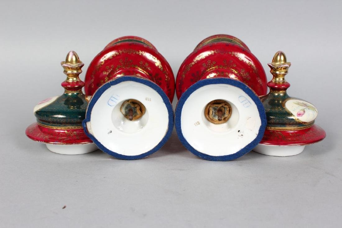 A PAIR OF VIENNA PORCELAIN VASES AND COVERS with panels - 3