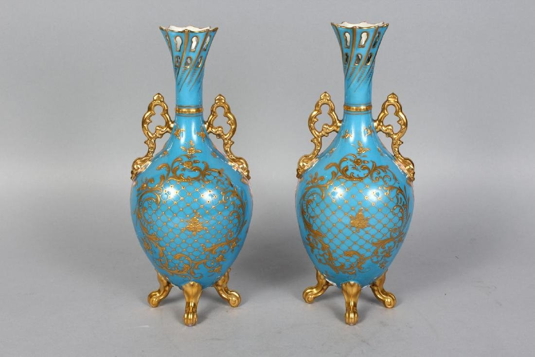A PAIR OF VIENNA PORCELAIN VASES painted with a panel - 2