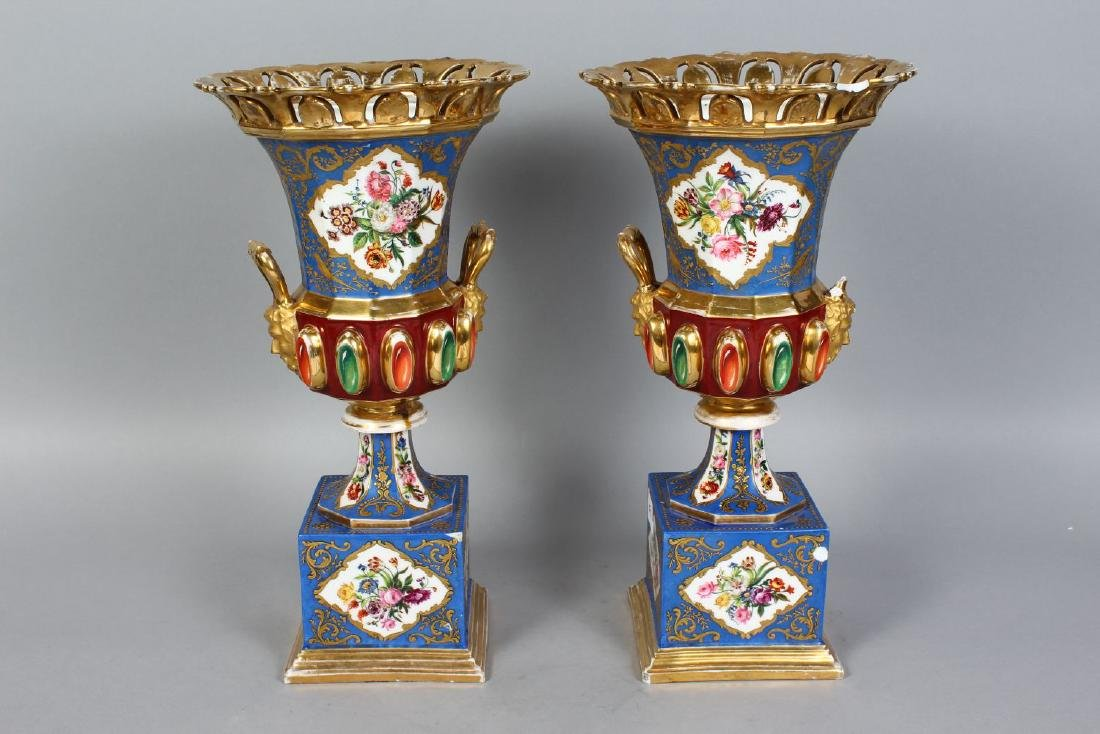 A PAIR OF CONTINENTAL PORCELAIN URN SHAPED VASES AND - 2