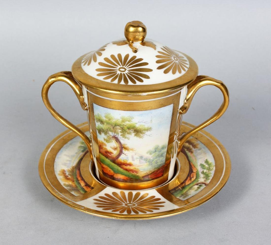 A PARIS CHOCOLATE CUP, COVER AND STAND, with gilt