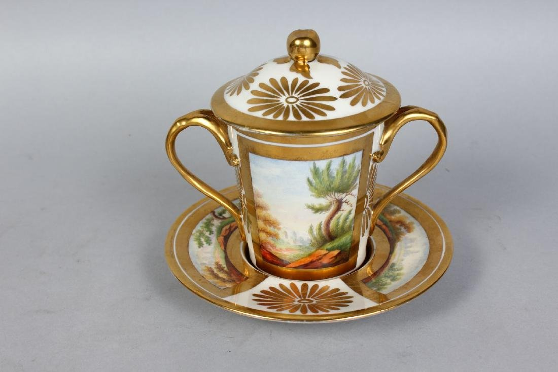 A PARIS CHOCOLATE CUP, COVER AND STAND, with gilt - 2