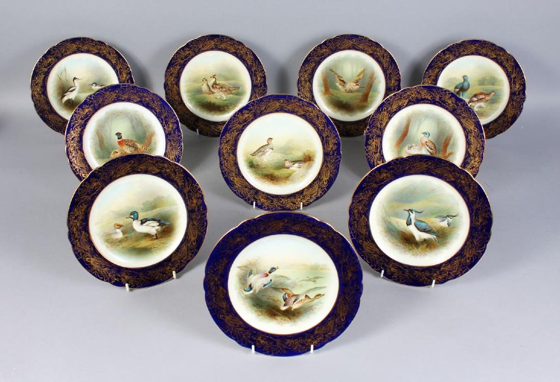 A SET OF TEN FOLEY CHINA BIRD PLATES, edged in blue and