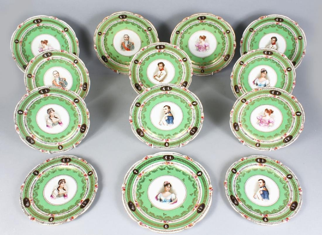 A FRENCH NAPOLEON PORCELAIN SET OF THIRTEEN PORTRAIT