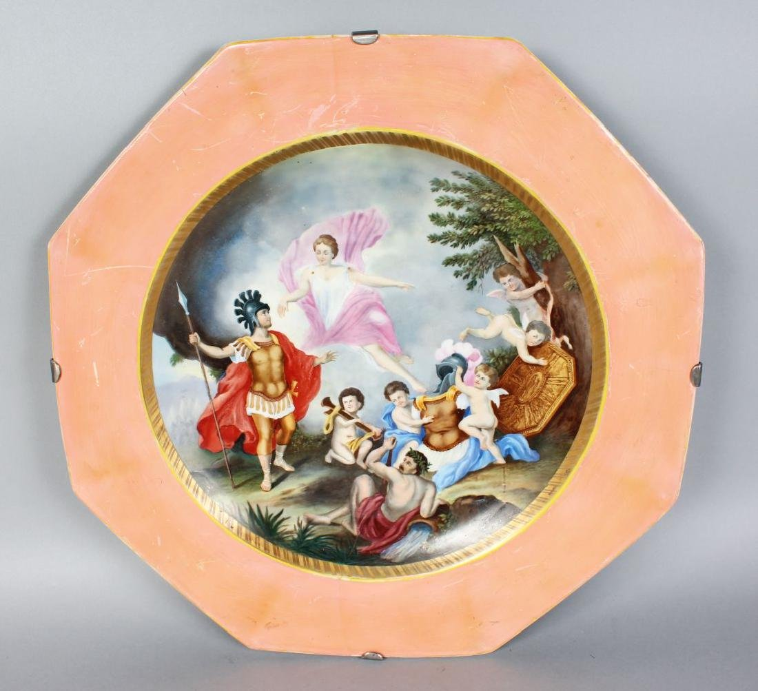 A VERY LARGE CONTINENTAL OCTAGONAL DISH, the centre