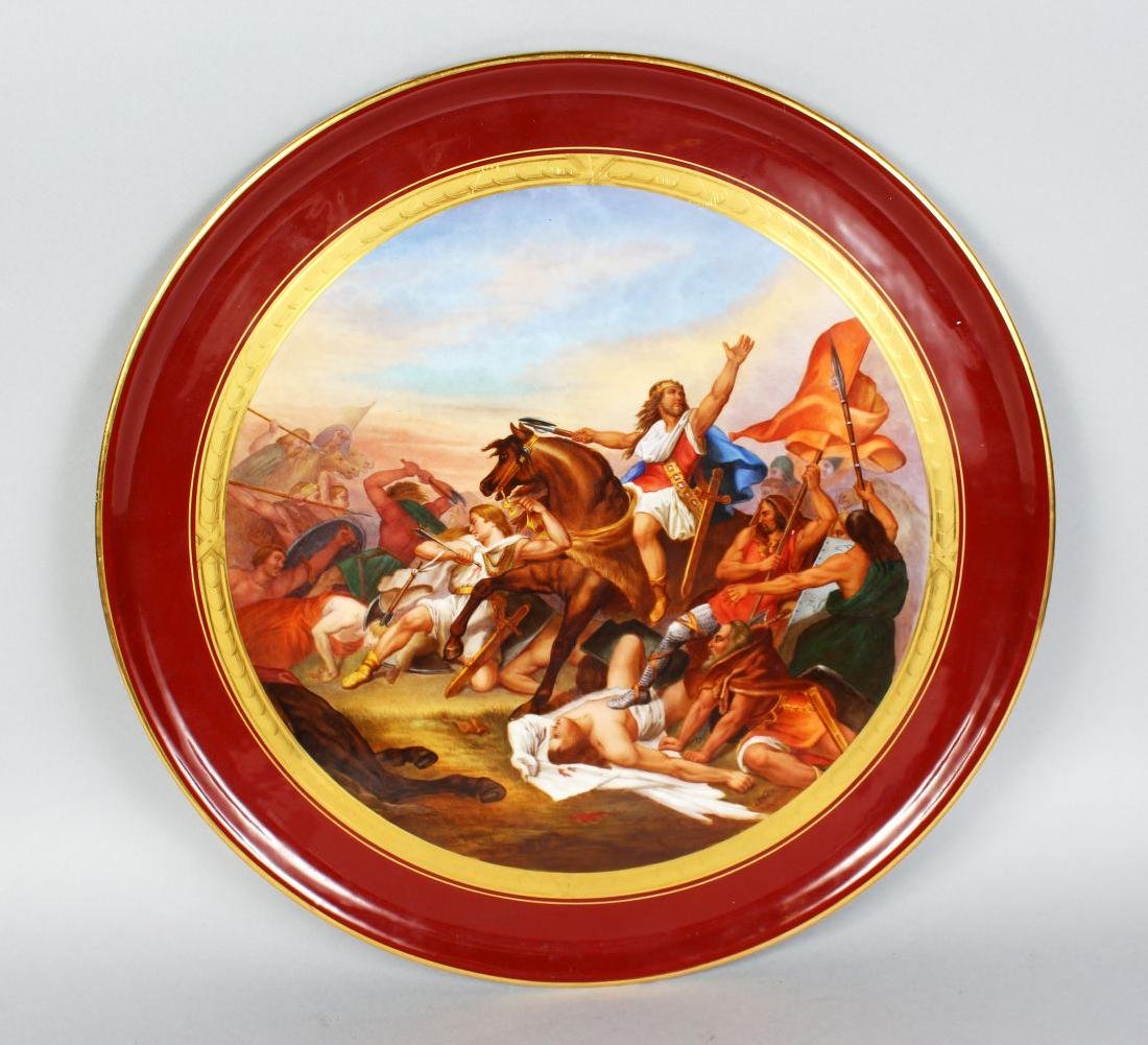 A LARGE SEVRES CIRCULAR PLAQUE painted with a battle