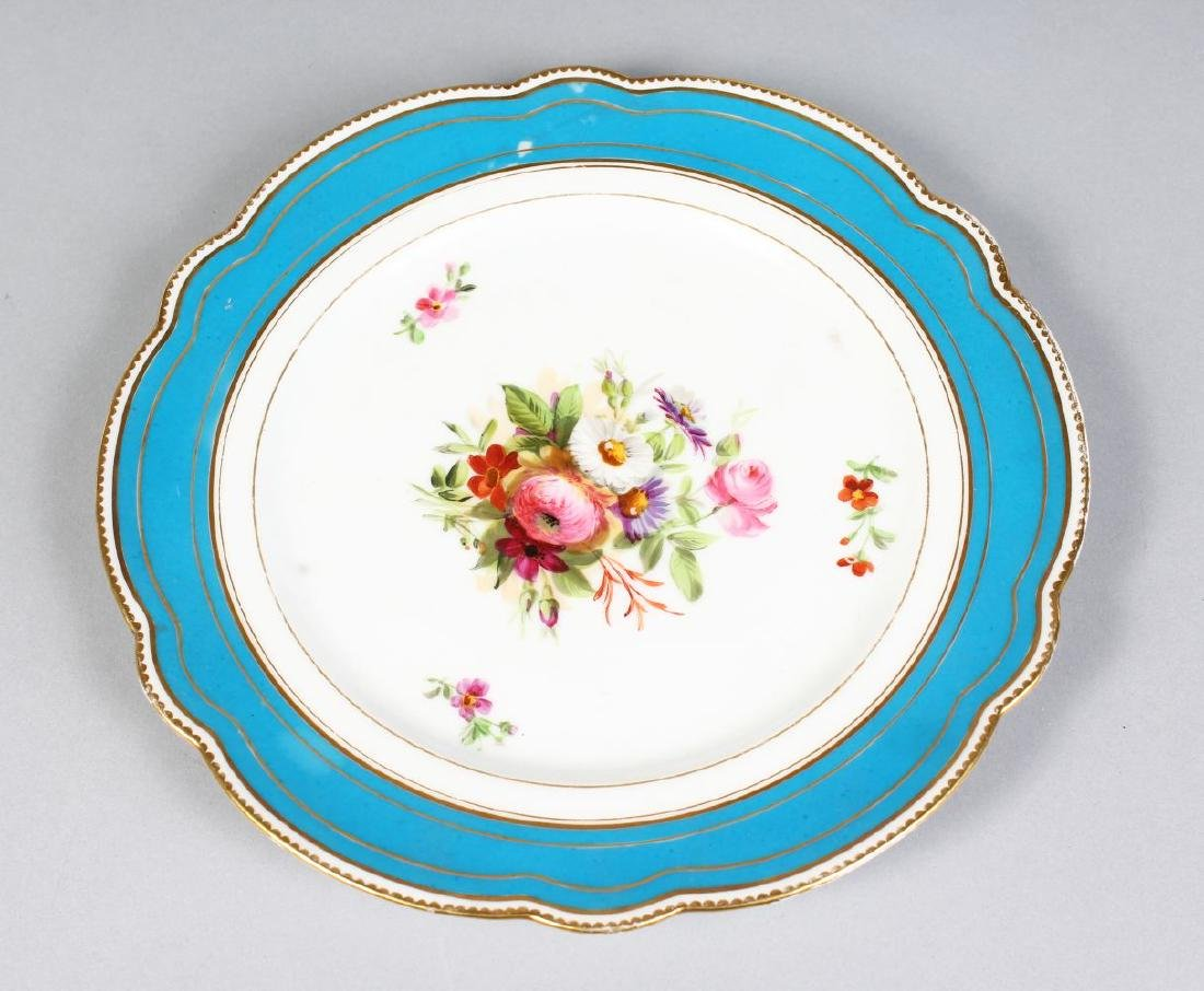 A SET OF FOURTEEN FRENCH PORCELAIN PLATES, with blue - 2