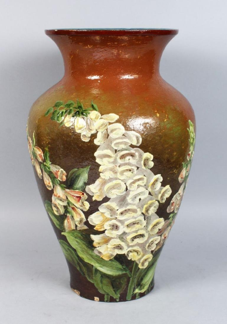 A LARGE DOULTON LAMBETH STONEWARE VASE painted with