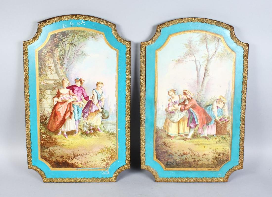 A GOOD PAIR OF LARGE SEVRES UPRIGHT PORCELAIN PLAQUES,