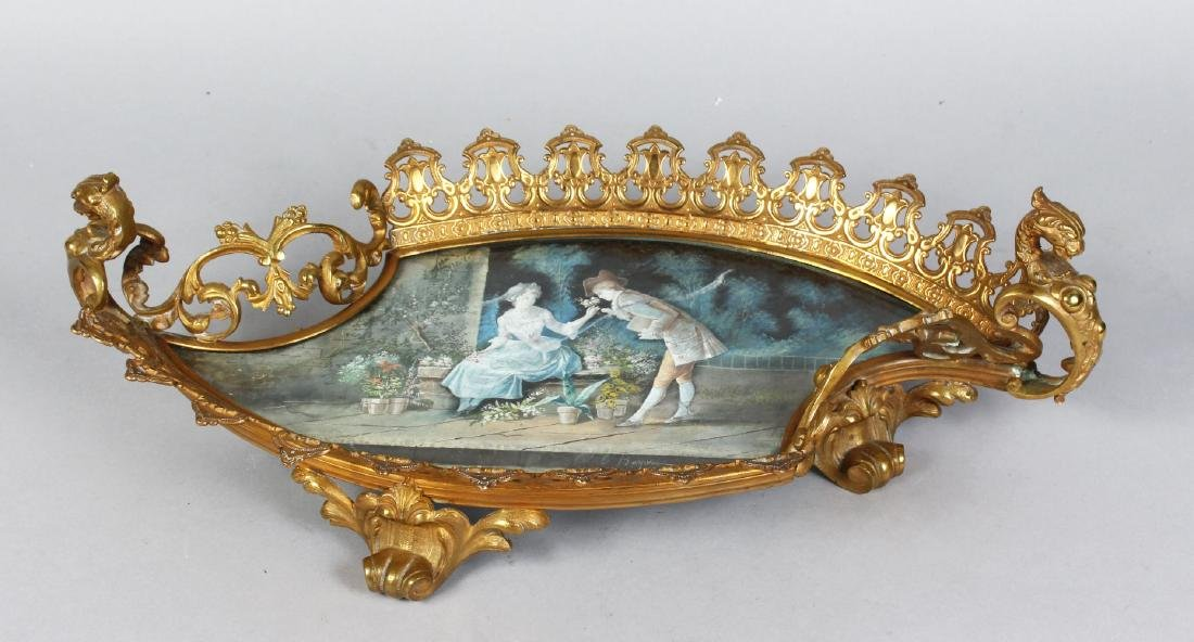 A SUPERB SEVRES SHAPED PORCELAIN BASKET, painted with a