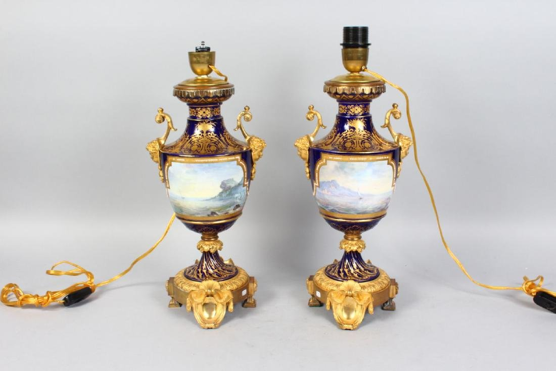 A SUPERB PAIR OF SEVRES PORCELAIN URN SHAPED LAMPS with - 2