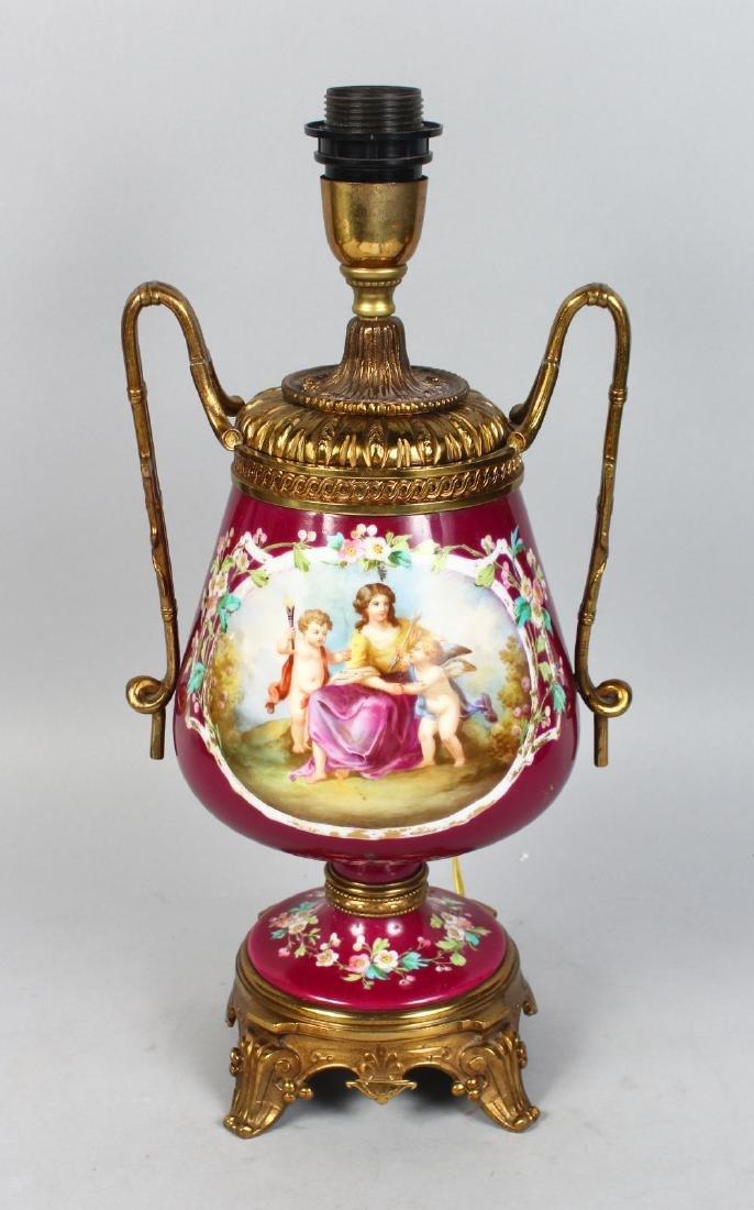A GOOD 19TH CENTURY PARIS PORCELAIN URN SHAPED LAMP,
