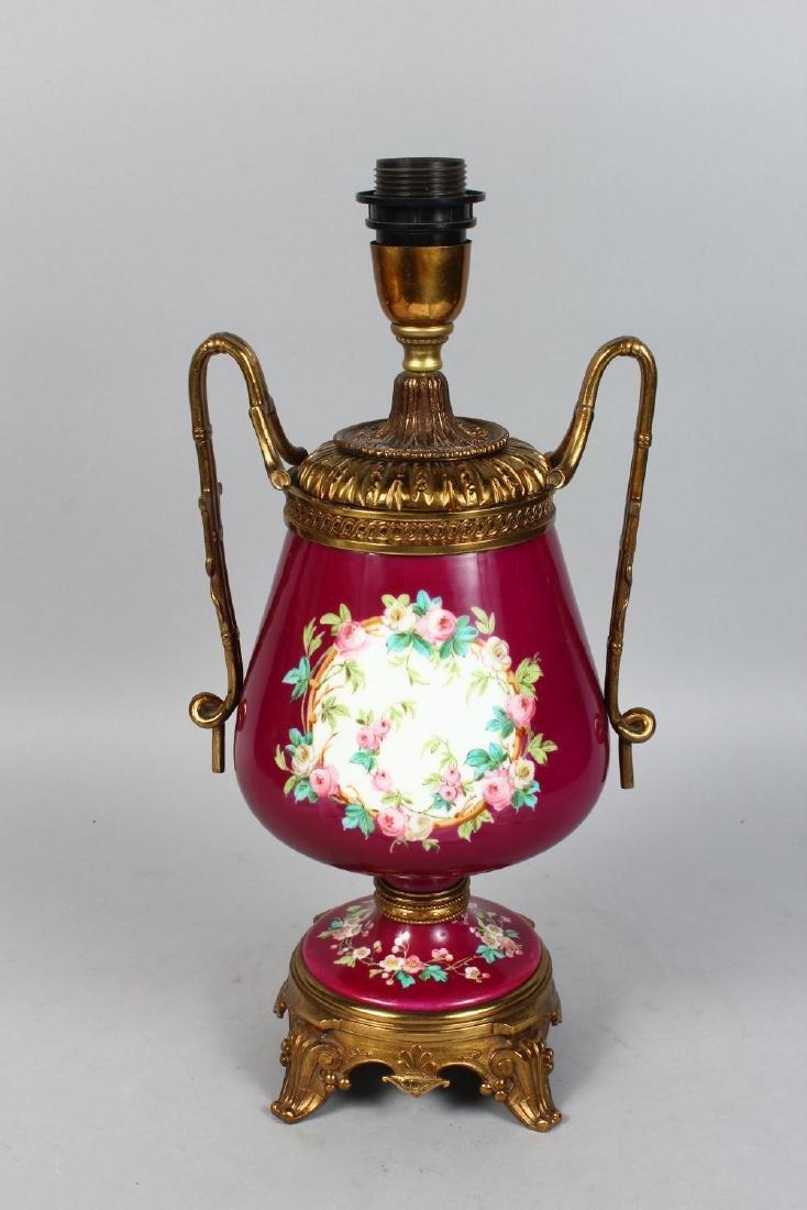 A GOOD 19TH CENTURY PARIS PORCELAIN URN SHAPED LAMP, - 2
