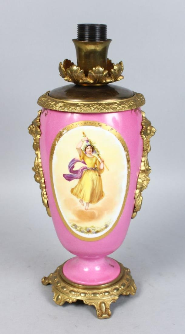 A GOOD SEVRES PORCELAIN VASE, with blue ground, reverse
