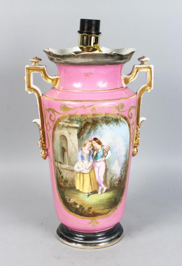 A LARGE PARIS PORCELAIN TWO-HANDLED VASE, pink ground,