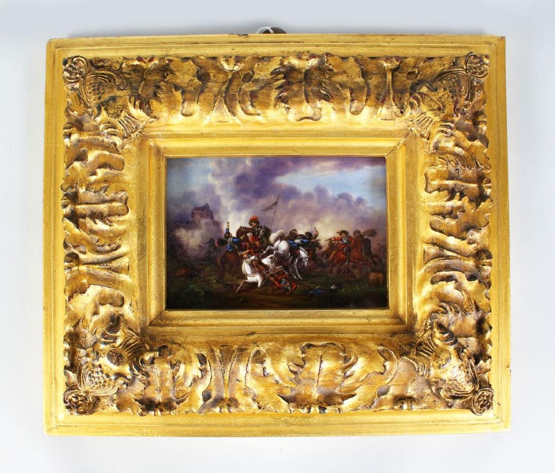 A VERY GOOD PORCELAIN PLAQUE, 'BATTLE SCENE', after