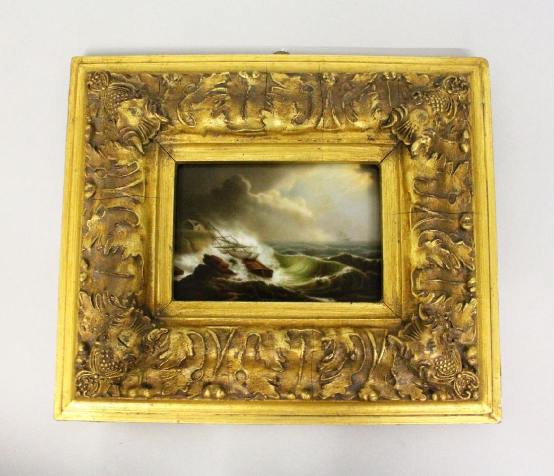 A VERY GOOD PORCELAIN PLAQUE, 'THE SHIPWRECK'.  4ins x