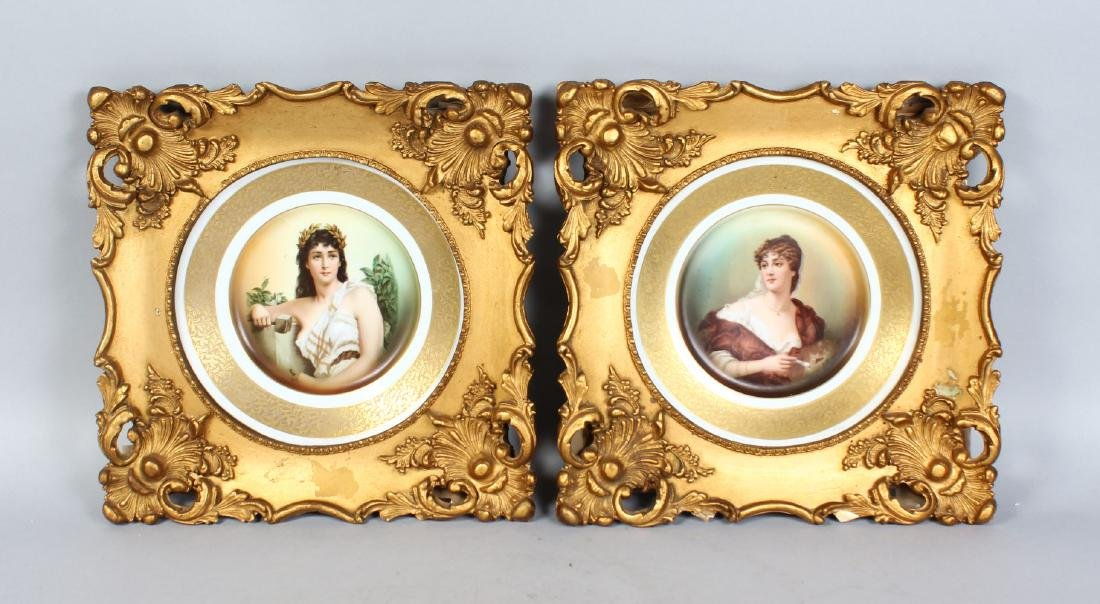 A GOOD PAIR OF ROSENTHAL PORCELAIN CIRCULAR PLAQUES,